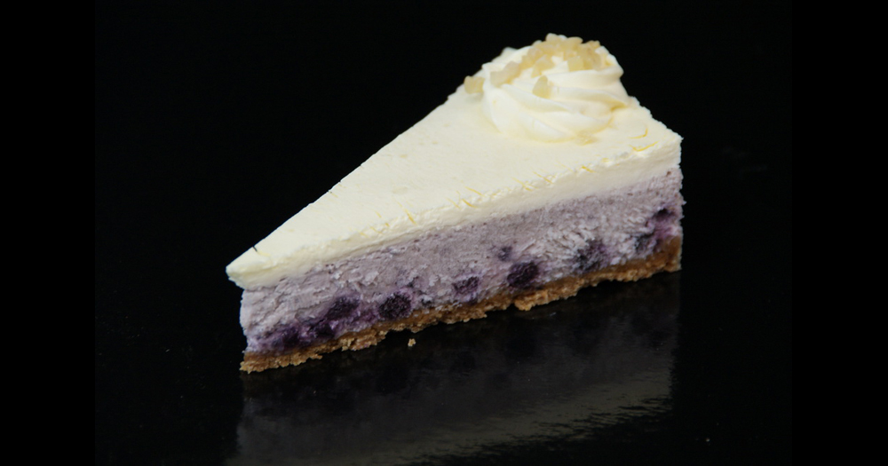 Blueberry cheesecake sliced
