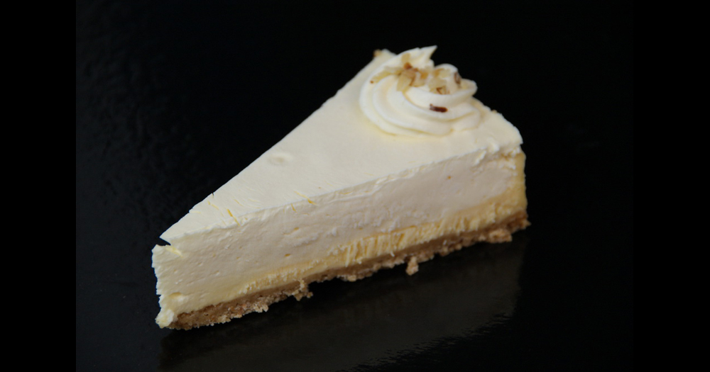 Lemon cheesecake sliced