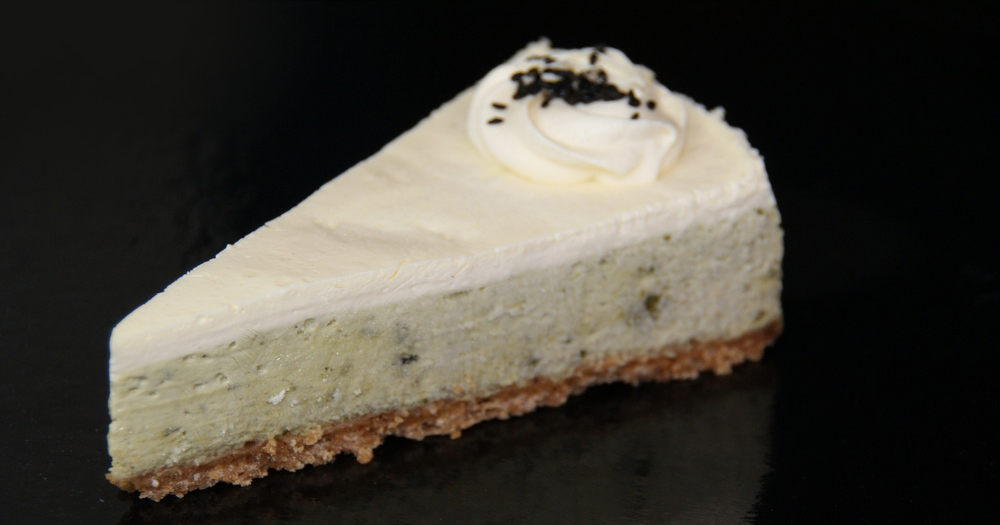 Green tea cheesecake sliced