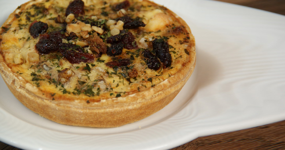 Quiche cuite bleu cranberries